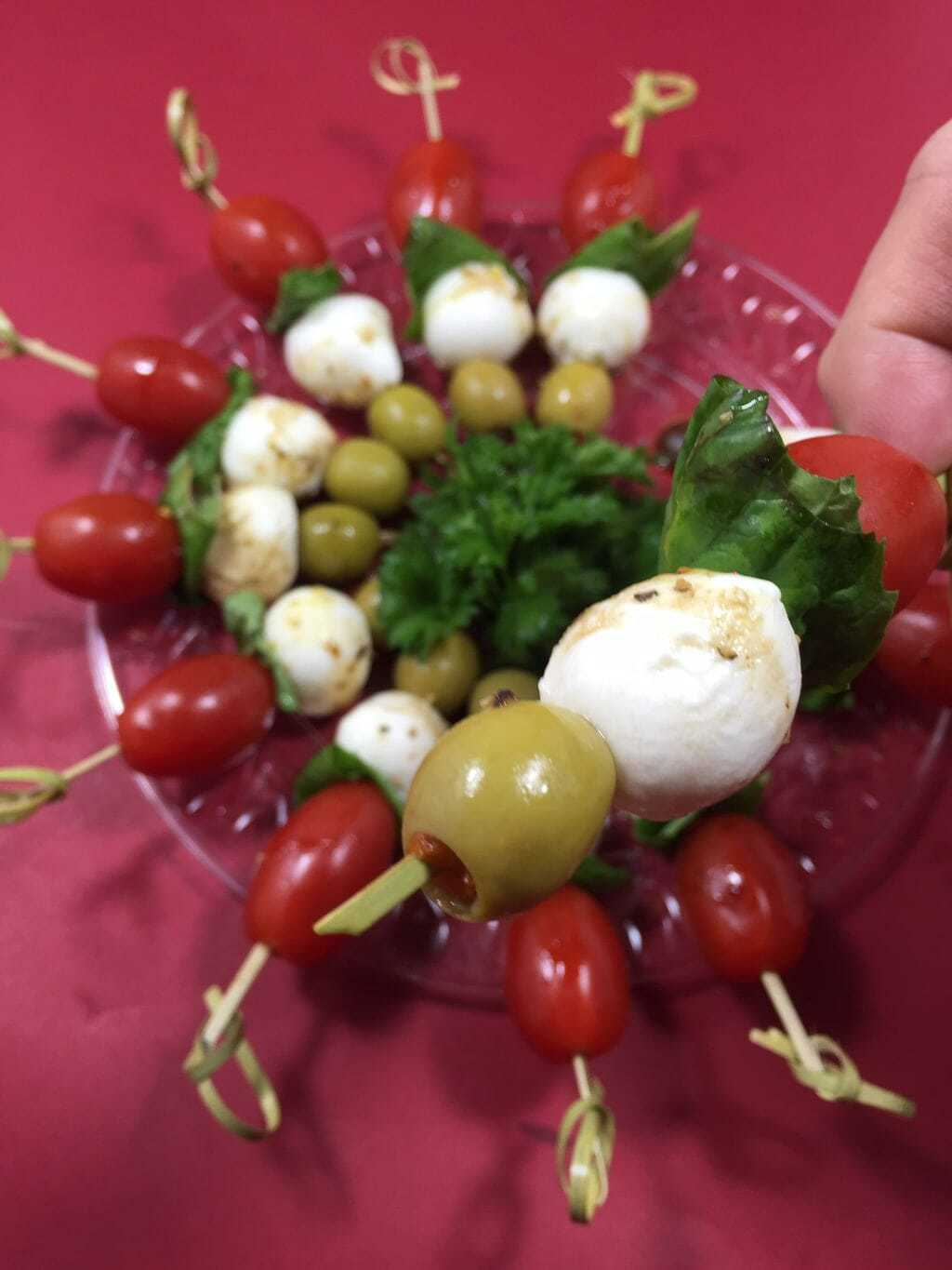 Caprese Skewers with Green Olives