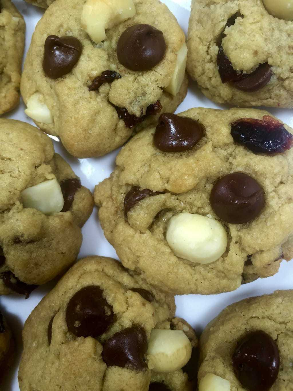 Chocolate Chip Macadamia Cookies with Cranberries