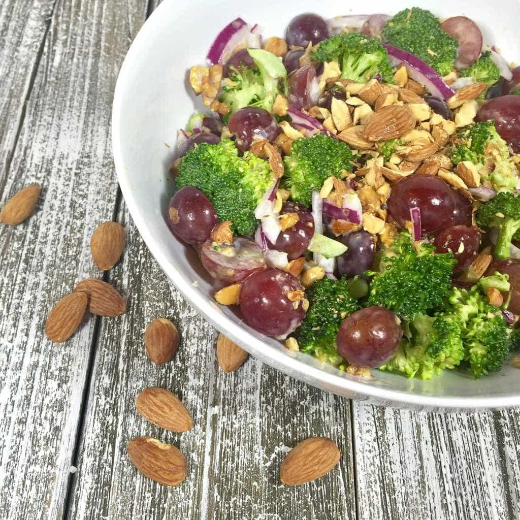 Broccoli Grape Salad with Alminds