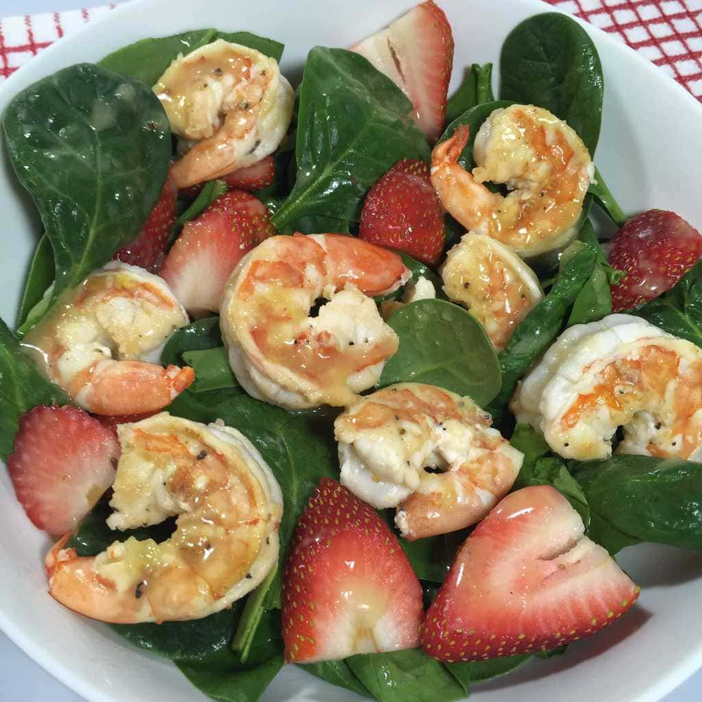 Spinach Salad with Shrimpand Strawberries