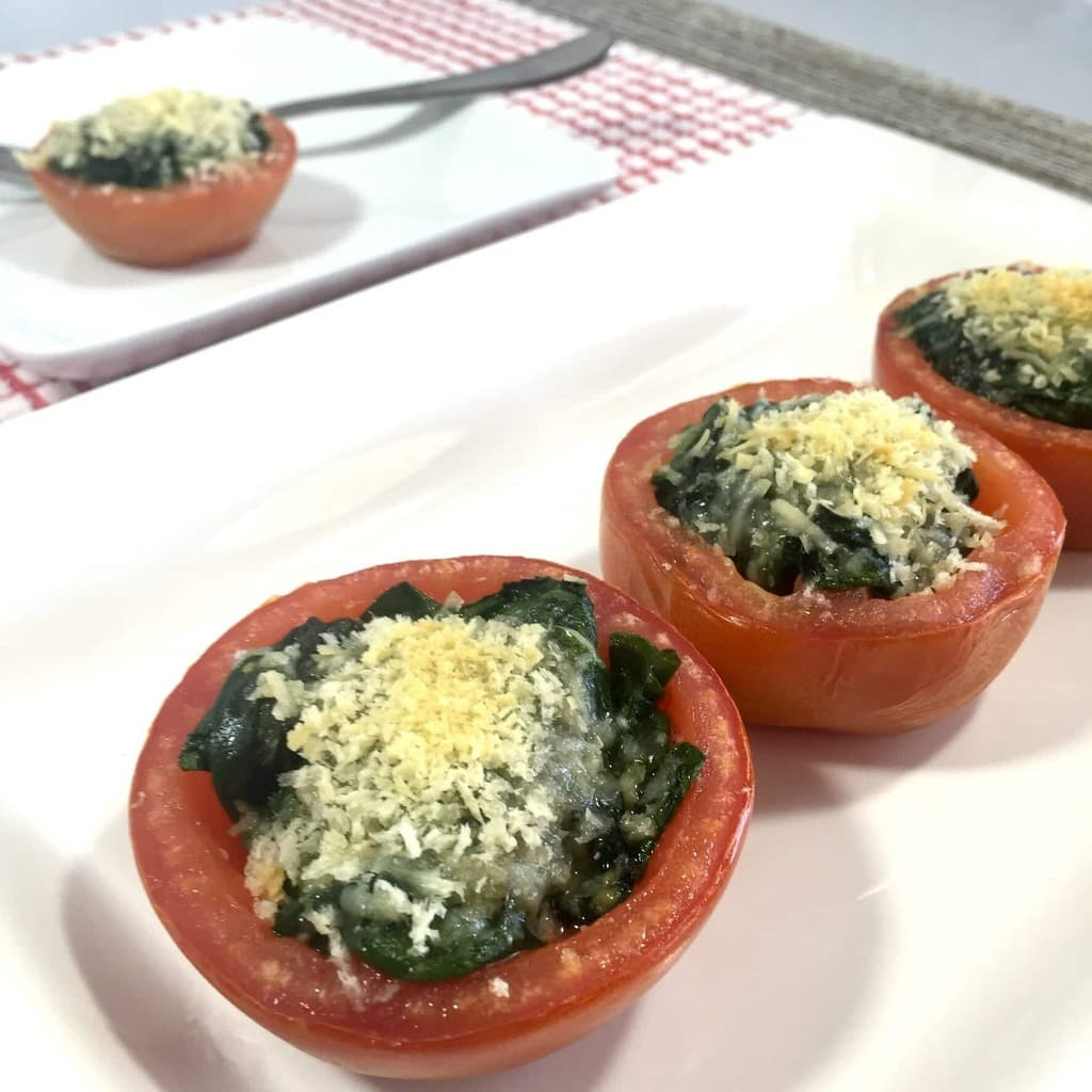 Roasted Tomatoes with Spinach and Parmesan