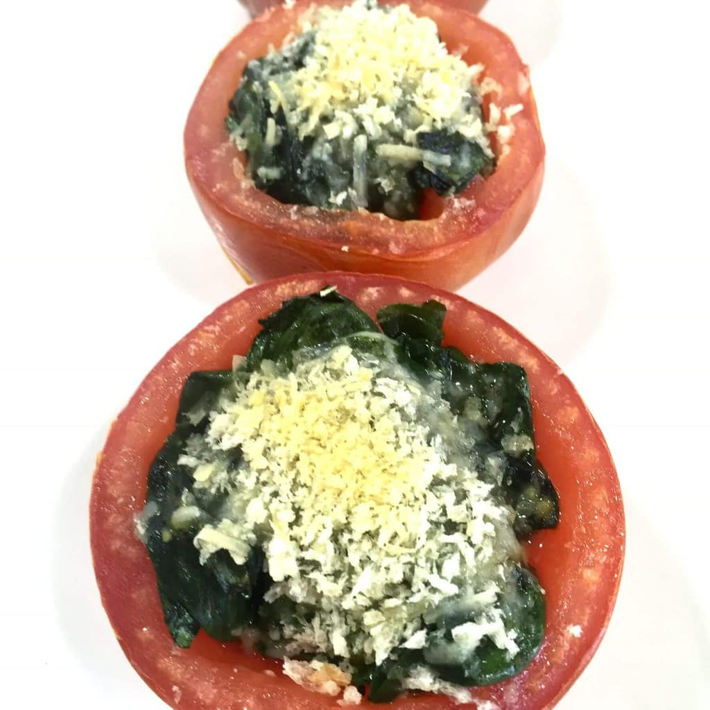 Healthy Roasted Tomatoes with Spinach and Oarmesan