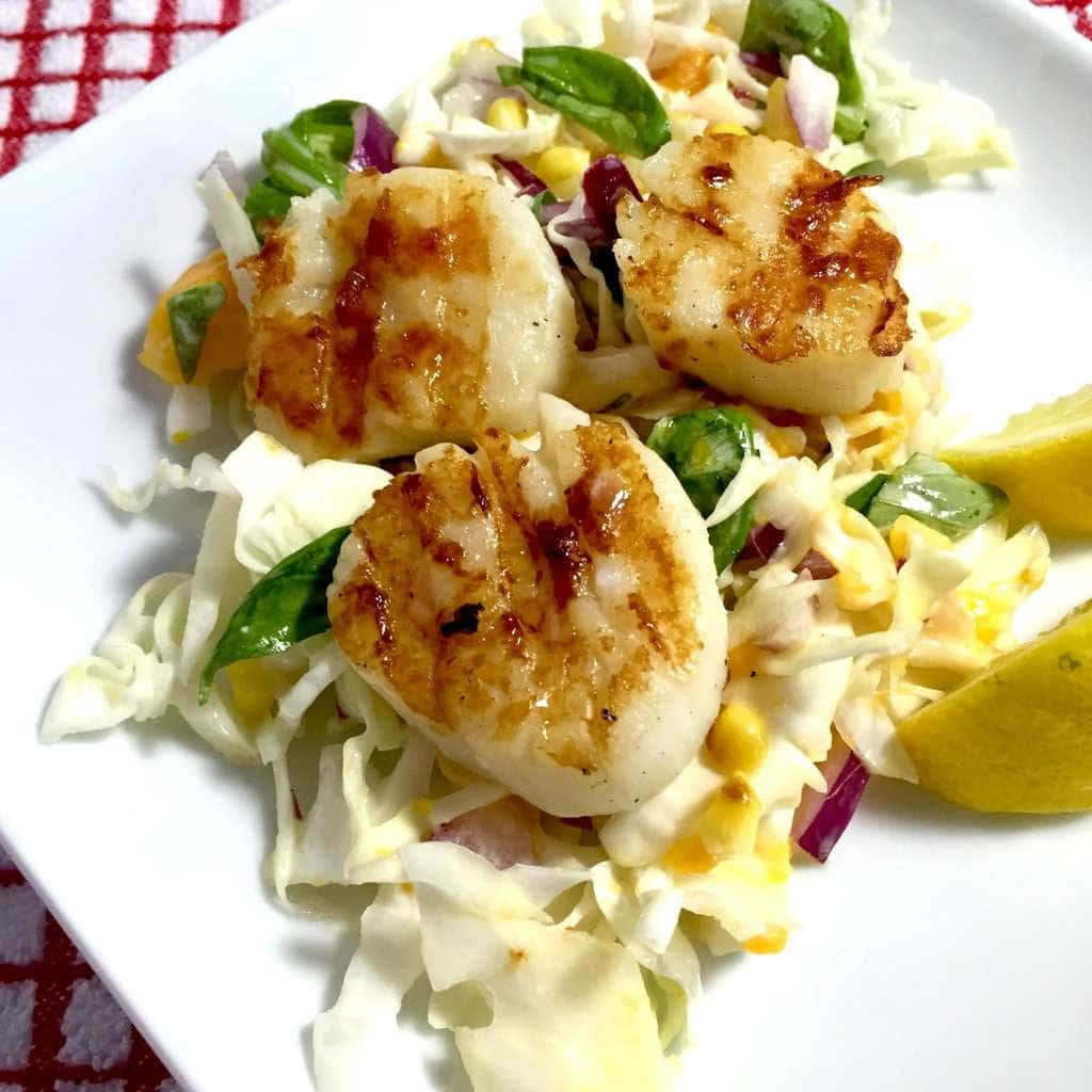 Sea Scallops with Mango Slaw