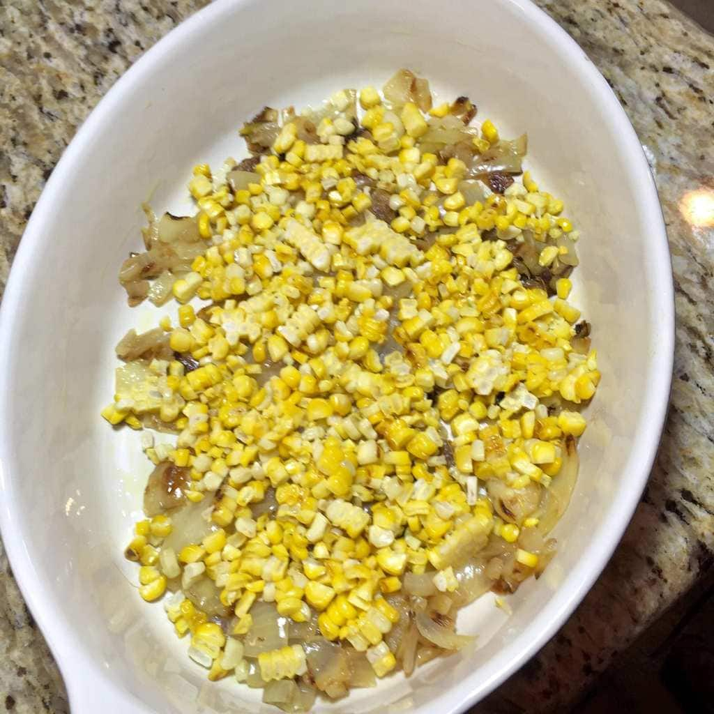 Roasted corn and caramelized onions