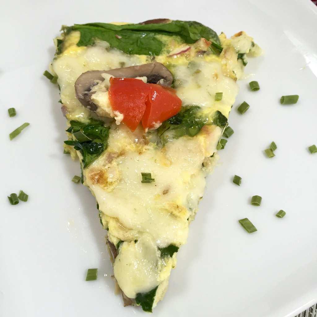 Slice of Spinach Mushroom Frittata