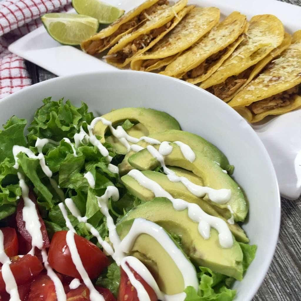 Chicken Tacis with Avocado Salad