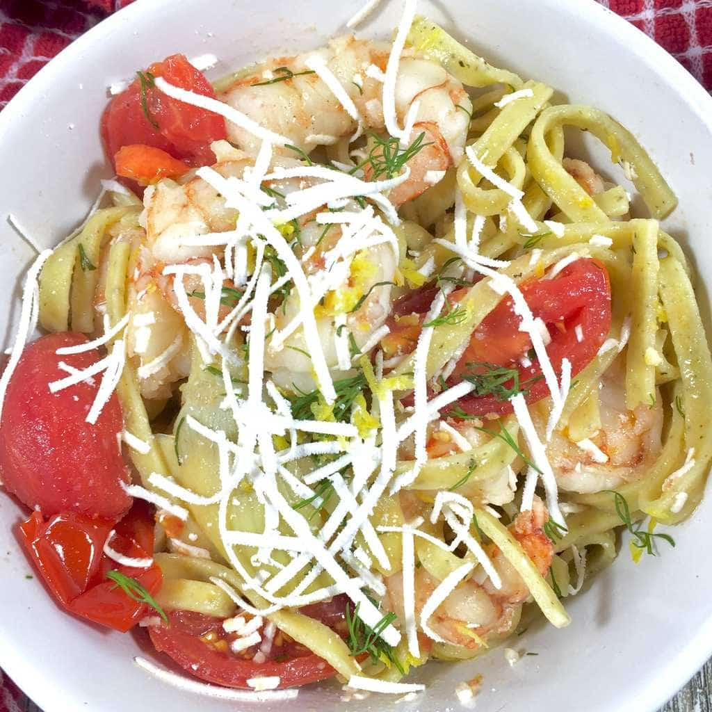 Lemon Fettuccini with Shrimp
