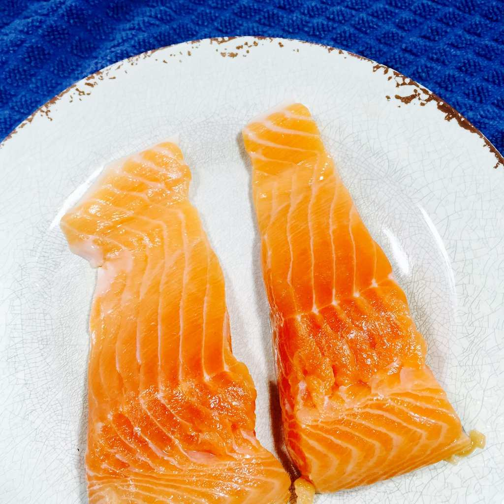 Salmon filets on a white plate