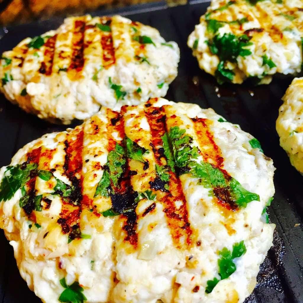 Turkey burgers grilling