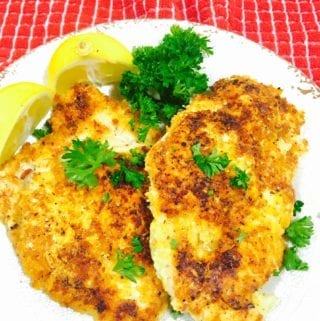 Parmesan Chicken on a white plate