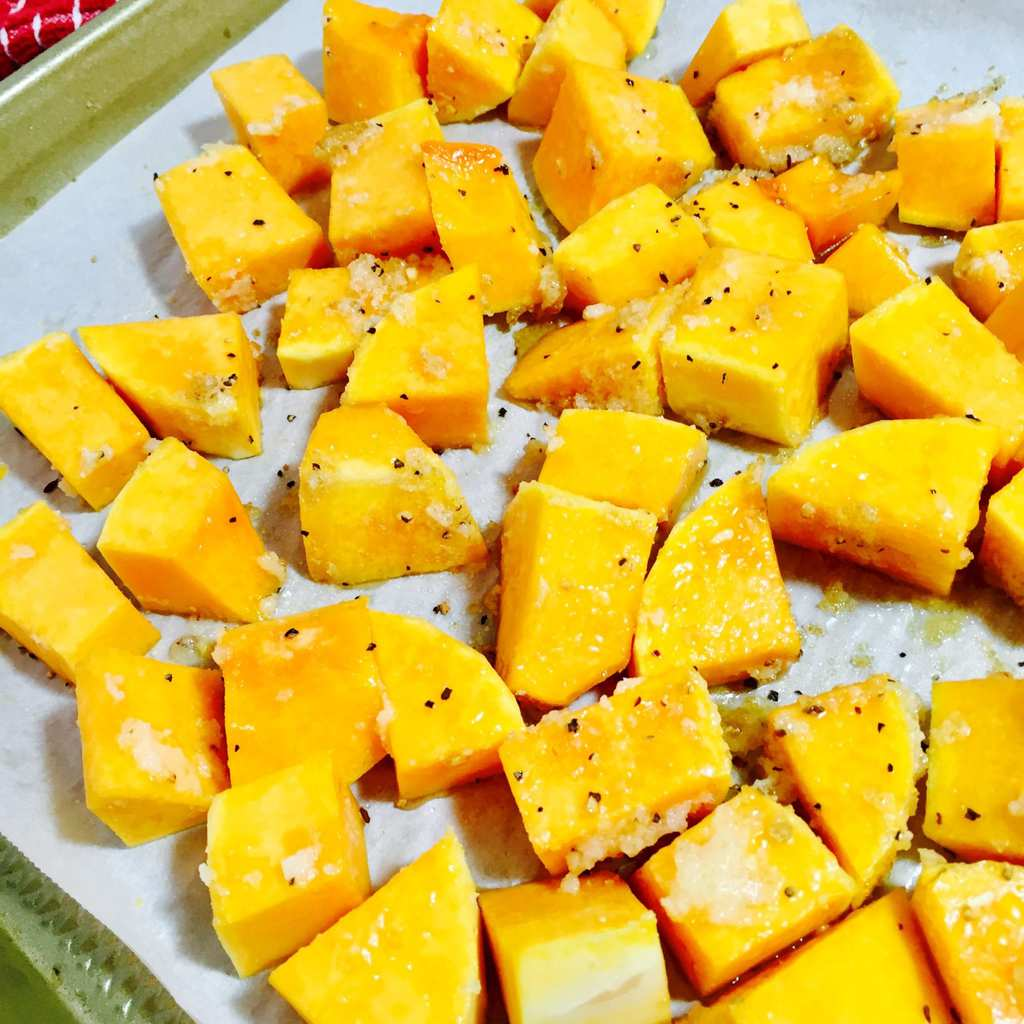 Cubed butternut squash with spices
