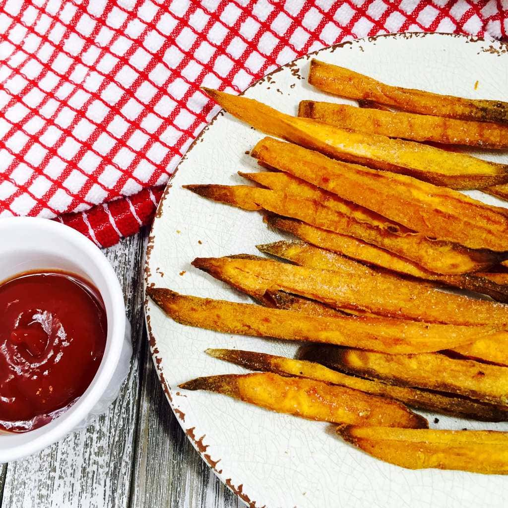 Sweet potato fries with ketchup