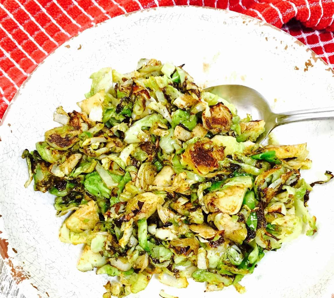 Shredded Brussels Sprouts on a white plate